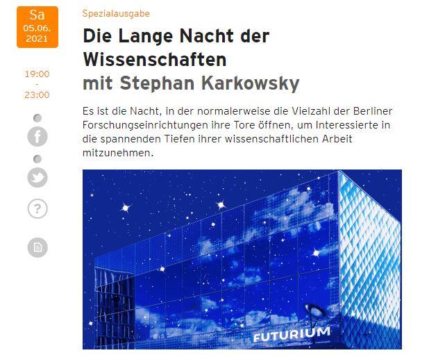 Screenshot: © radioeins rbb/ Foto: © Futurium